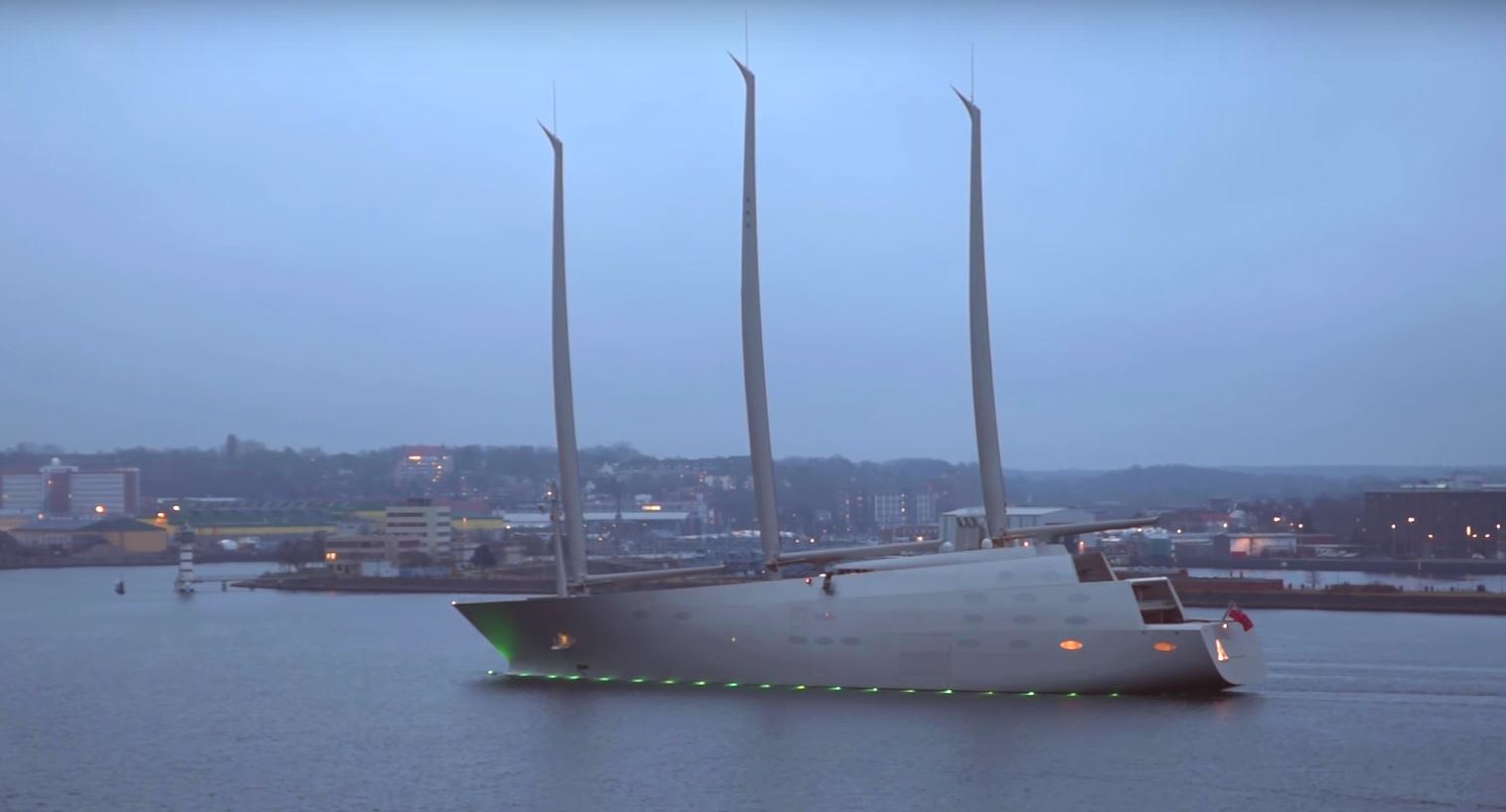 Russian billionaire's mammoth £360 million 'Sailing Yacht A' superyacht with masts taller than Big Ben dwarves tankers as it pulls into Gibraltar after a week of sea trials.