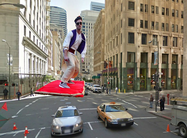 ALADDIN MAGIC CARPET new york flying Travelling in a around Town, while amazed onlookers try to snap photos in amazement and awe.