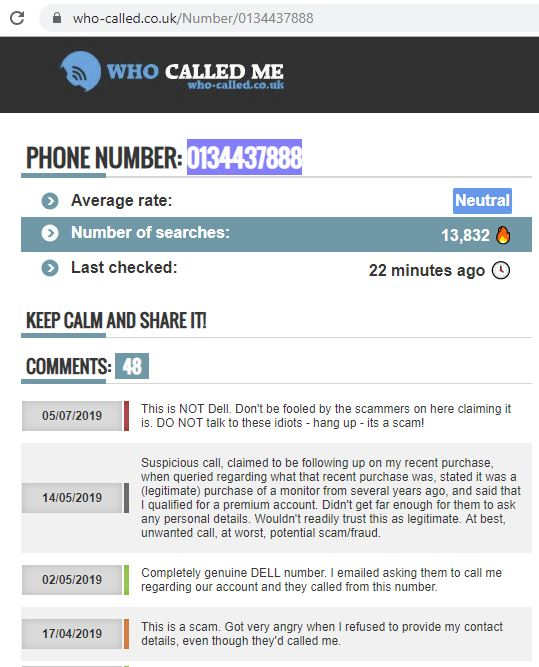 During a call to sales this morning to DELL Sales line proves to be more than bargained for, and just after teh call, I got a missed call from.