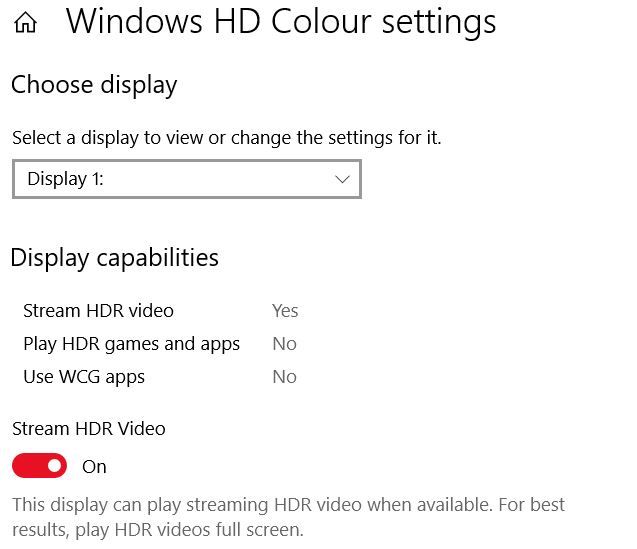 Windows HD Colour HDR