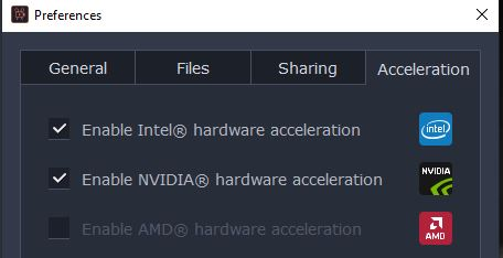 hardware accelleration options are clear. video edting movavi.