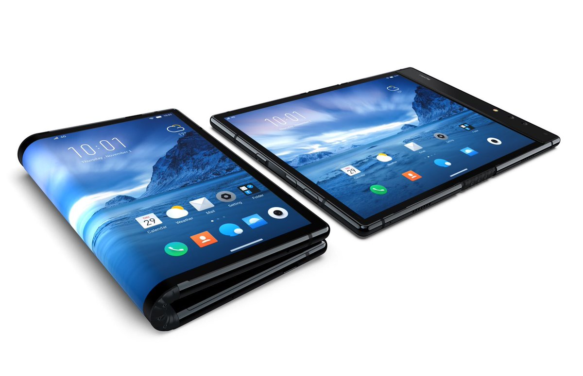 the world's first foldable smartphone, a stylish combination of a mobile phone and tablet with a fully flexible screen
