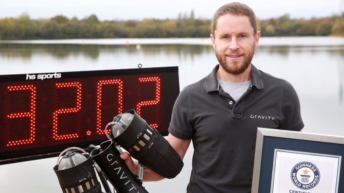Richard Browning with his Guinness World Record. Credit: PA