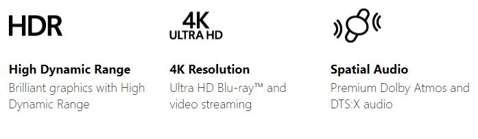 True 4K Spatial Audio HDR High Dynamic Range Game DVR