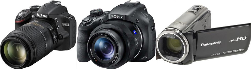 Zoom Camera Video Lens Sony Cyber-shot DSC-HX400V vs Panasonic HSC-V520 Tests compared